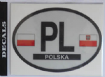 Poland Country Flag Oval Decal.